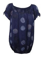 Blusa 42 44 m-l grandes puntos blusa azul gris violeta made in italy algodón