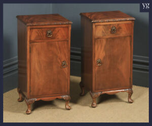 Antique Pair of Queen Anne Style Flame Mahogany Bedside Cupboards Nightstands