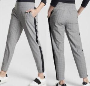 ATHLETA Brooklyn Plaid Ankle Pant 10P Career Black White Travel Pants NEW