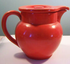 Vintage Red Orange Ceramic Teapot Czechoslovakia