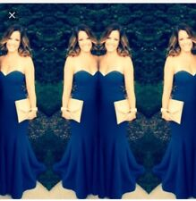 Lulus Rubber Ducky Blue Sorella Mermaid Maxi Dress Gown Ball Med Bridesmaid