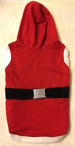 Adorable Red & White Santa Dog Hoodie - M or L - Christmas Holiday - Buckle -NEW