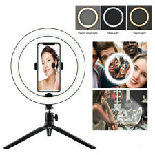 """10"""" LED Ring Light with Tripod Stand & Phone Holder Dimmable Desk Ringlight Kit"""