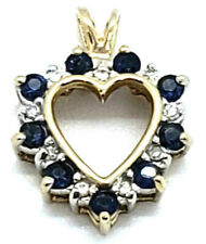 14k Yellow Gold Classic Natural Blue Sapphire Diamond Open Heart Pendant 1.8Gram