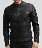 New Men's Leather Jacket Black Slim fit Motorcycle Real lambskin jacket