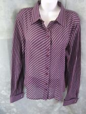 Vtg 90's Impressions Sheer Striped Blouse Size 18 French Cuffs