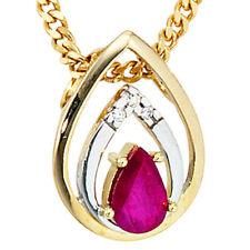 Anhänger Tropfen 585 Gelbgold 3 diamanten brillanten 1 Rubin rot