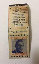Vintage Matchbook Cover Matchcover Vote Harvey Taylor State Senator