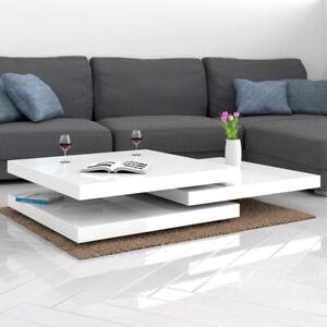 Table Basse Carre de Salon Design 60 x 60 cm  Moderne blanc Laqué  Rotative 360°