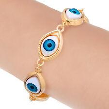 1 New Gold Plated Blue Evil Eye Link Bracelets 17cm