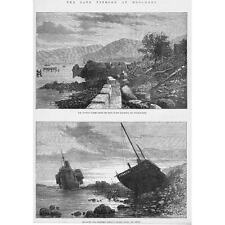HONG KONG Scenes after the recent Typhoon - Antique Print 1874