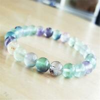 8mm Rainbow Fluorite Beads Handmade Mala Bracelet Retro Prayer Spirituality