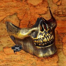 Gold Halloween Masquerade Masks Fan Half Face Skeleton Warrior Skull CS Horror