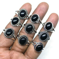 Wholesale Lot !! 20 PCs Natural Black Onyx Gemstone Silver Plated Rings Jewelry