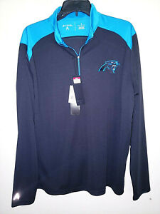 Mens Antigua 1/4 Zip Pullover Long Sleeve Shirt Carolina Panthers New Size L $80