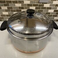 Vtg Pre-1968 REVERE WARE 1801 6 Qt Stock Pot Dutch Oven Dome Lid Copper Bottom