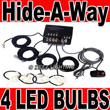 120W 4 LED Bulb Car Truck Hide-A-Way Hazard Warning Strobe Light System Kit C03