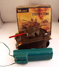 Marx Toys USA Cruiser Tank avec moteur et bruiteur Battery en boite Rare ancien