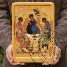 Russian Orthodox Rublev Icon HOLY TRINITY Painting Gold Plating Aging Affect