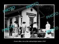 OLD LARGE HISTORIC PHOTO OF FOSTER OHIO, THE RAILROAD DEPOT STATION c1910