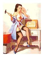 Retro Pin-Up w Hammer & Nails DIGITAL Counted Cross-Stitch Pattern Needlepoint