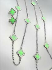 18kt White Gold Plated Green Enamel Clover Clovers Long Necklace Earrings Set