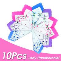 10pcs Vintage Floral Bird Handkerchief Lady Women Cotton Hanky Handkerchiefs US