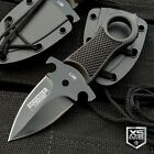 5' Full Tang Survival Black Tactical Hunting Fixed Blade Neck Knife + Sheath