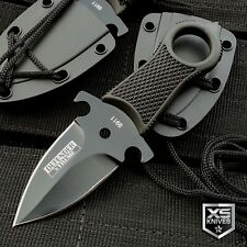 "5"" Full Tang Survival Black Tactical Hunting Fixed Blade Neck Knife + Sheath"