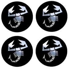 4 adhésifs sticker logo ABARTH chrome de 40 à 100 MM pour centre de jantes