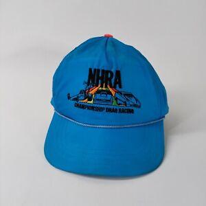 Vintage NHRA Championship Drag Racing Snapback Hat Blue Satin Top Eliminator
