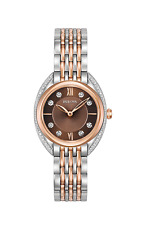 New Bulova 98R230 Two Tone Rose Stainless 24 Diamond Dial & Bezel Ladies Watch