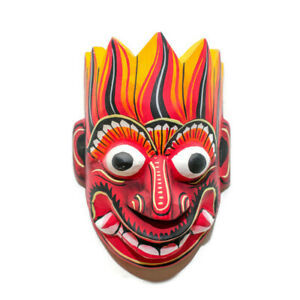 "Hand Carved Wood Wall Art Decor Sri Lankan Sanni Mask Sculpture Collectible 5"""