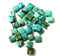 Wholesale Lot 5mm Natural Tibetan Turquoise Square Cabochon Loose Gemstone GO-2