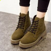 New Fashion Ladies High Top Lace Up Round Toe Faux Suede Ankle Boots Shoes Size