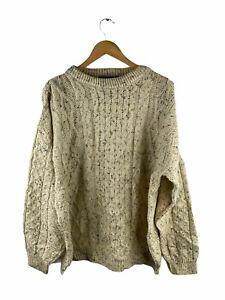 VINTAGE Tivoli Aran Knit Jumper Mens Size XL Beige Long Sleeve 100% Wool Ireland
