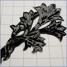 BLACK & GUNMETAL SEQUIN BEADED FLOWER APPLIQUE 2707-Q