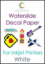 5 Pack WHITE Water Slide Decal Paper INKJET A4 Waterslide Transfer Craft Sheets