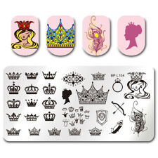 BORN PRETTY Nail Stamping Plates Rectangle Crown Queen Feather Image Templates