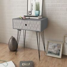 Bedside Cabinet Side Table or Nightstand With 1 Drawer Rectangular Grey