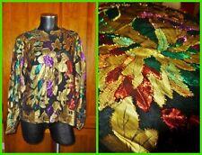 Vtg 80s METALLIC Colorful dress Shirt BLOUSE Eyelash Lurex Holiday Party L/XL