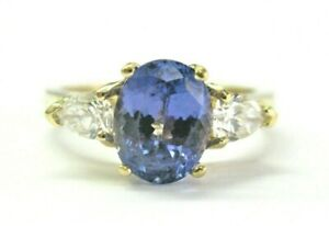 Oval Tanzanite & Pear Shape Diamond Three Stone Ring 18Kt Yellow Gold 2.05t AAAA