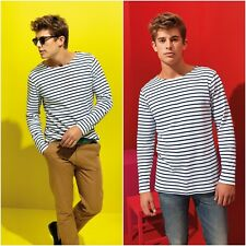 Mens Navy White Stripe Breton Top Long Sleeve T-Shirt TShirt Tee Sailor French