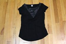 VENUS SHORT SLEEVE LASER CUT INSET TOP BLACK SIZE XS EXTRA SMALL NEW