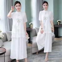 Summer Lotus Linen Blend Loose Women's Shirt & Pants Suits Set Cheongsam M-3XL