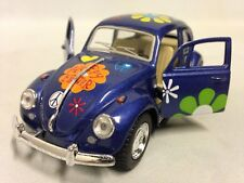 """1967 Classic Volkswagen VW Beetle 5"""" Diecast 1:32 Pull Back To Go Toy Blue Print"""