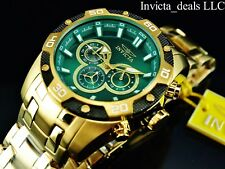 Invicta Mens 48mm Speedway Scuba Chronograph 18k Gold Plated Green Dial SS Watch