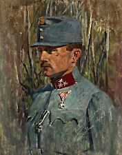 WWI Soldier with the Iron Cross by Richard Adam. Canvas War Art. 11x14 Print