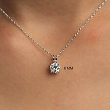 Near White Round Moissanite Solitaire Pendant Necklace 925 Sterling Free Chain