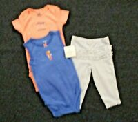 Carter's Baby Girls 3 Piece Outfit Size 9 Mo Short Sleeve Bodysuits Pants Set